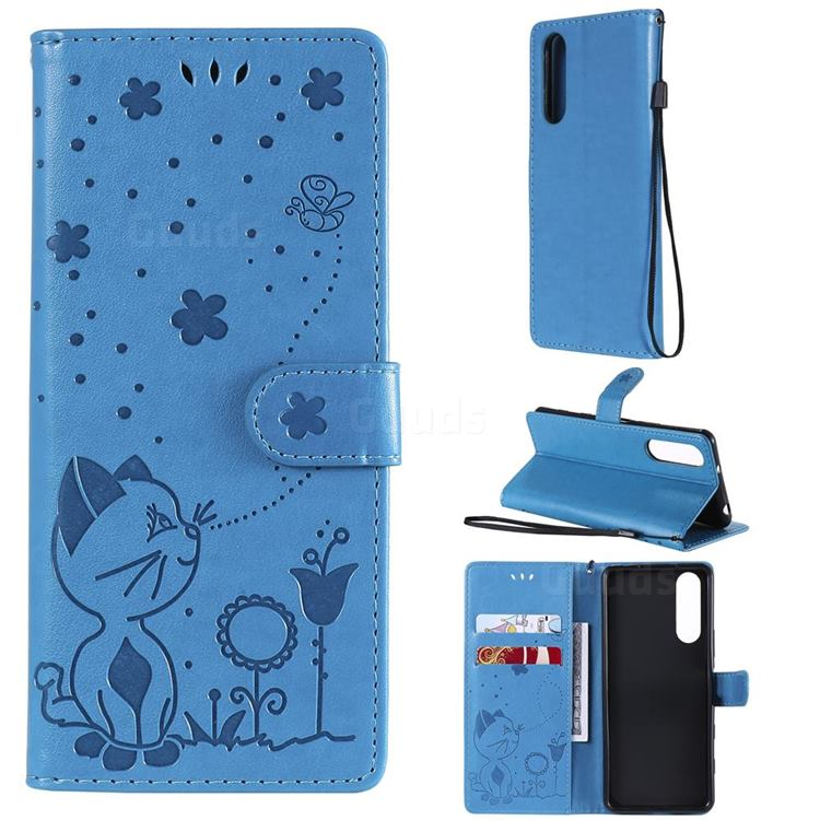 Embossing Bee and Cat Leather Wallet Case for Sony Xperia 5 II - Blue