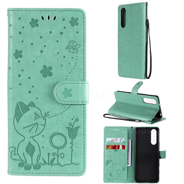 Embossing Bee and Cat Leather Wallet Case for Sony Xperia 5 II - Green