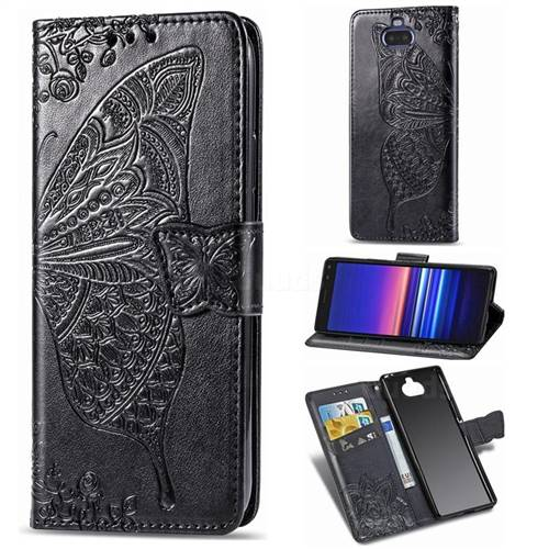 Embossing Mandala Flower Butterfly Leather Wallet Case for Sony Xperia 8 - Black