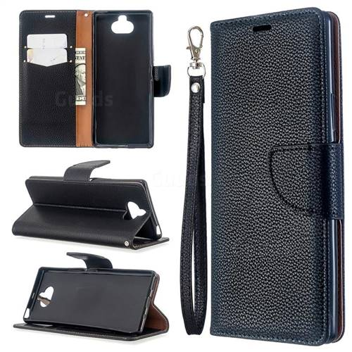 Classic Luxury Litchi Leather Phone Wallet Case for Sony Xperia 8 - Black