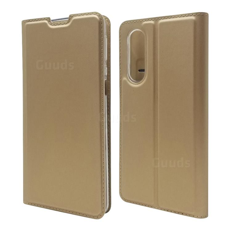 Ultra Slim Card Magnetic Automatic Suction Leather Wallet Case for Sharp Aquos zero5G basic SHG02 - Champagne