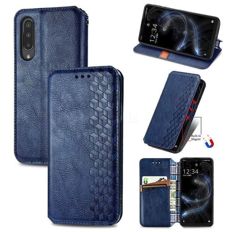 Ultra Slim Fashion Business Card Magnetic Automatic Suction Leather Flip Cover for Sharp Aquos zero5G basic SHG02 - Dark Blue