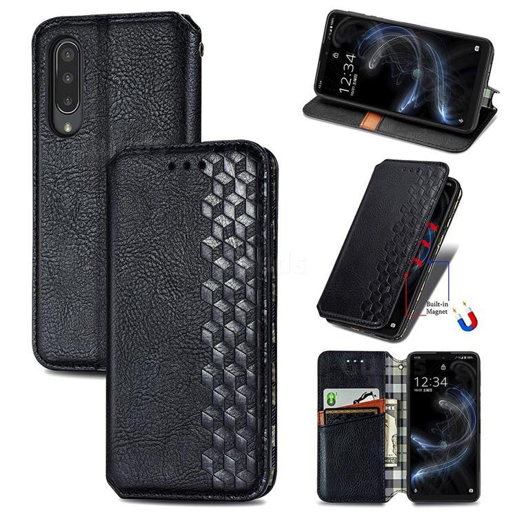 Ultra Slim Fashion Business Card Magnetic Automatic Suction Leather Flip Cover for Sharp Aquos zero5G basic SHG02 - Black
