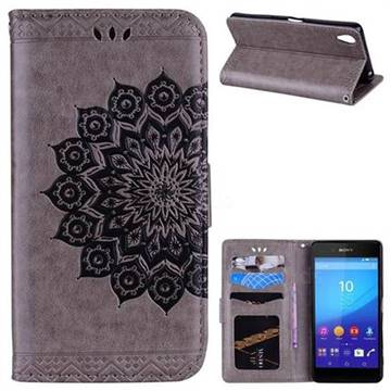 Datura Flowers Flash Powder Leather Wallet Holster Case for Sony Xperia X - Gray