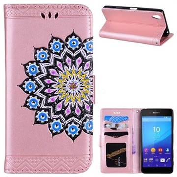 Datura Flowers Flash Powder Leather Wallet Holster Case for Sony Xperia X - Pink