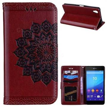 Datura Flowers Flash Powder Leather Wallet Holster Case for Sony Xperia X - Brown