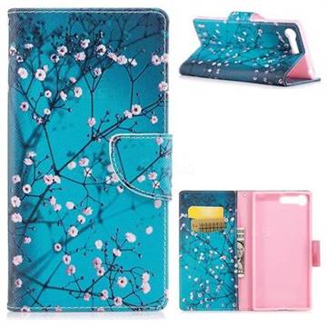 Blue Plum Leather Wallet Case for Sony Xperia X1