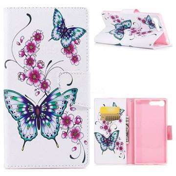 Peach Butterfly Leather Wallet Case for Sony Xperia X1