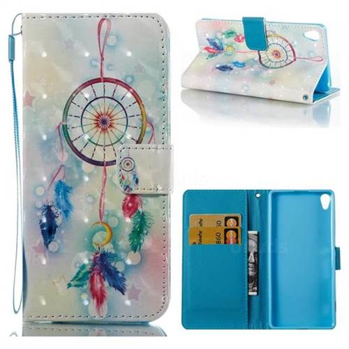 Feather Wind Chimes 3D Painted Leather Wallet Case for Sony Xperia XA