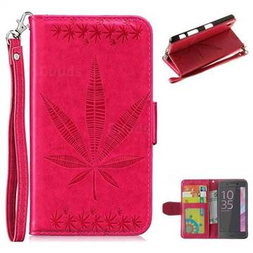 Intricate Embossing Maple Leather Wallet Case for Sony Xperia XA - Rose
