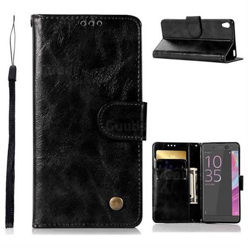 Luxury Retro Leather Wallet Case for Sony Xperia XA - Black