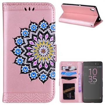 Datura Flowers Flash Powder Leather Wallet Holster Case for Sony Xperia XA - Pink