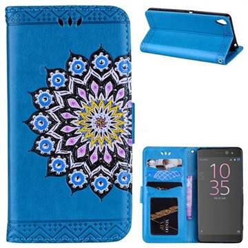 Datura Flowers Flash Powder Leather Wallet Holster Case for Sony Xperia XA - Blue