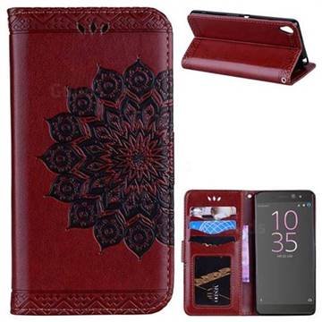 Datura Flowers Flash Powder Leather Wallet Holster Case for Sony Xperia XA - Brown