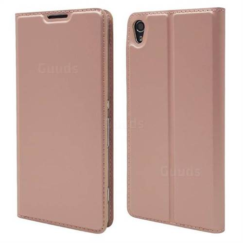 Ultra Slim Card Magnetic Automatic Suction Leather Wallet Case for Sony Xperia XA - Rose Gold