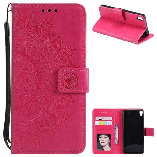 Intricate Embossing Datura Leather Wallet Case for Sony Xperia XA - Rose Red