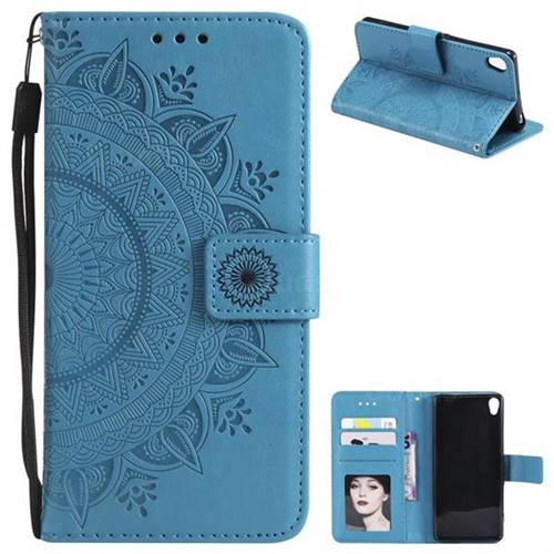 Intricate Embossing Datura Leather Wallet Case for Sony Xperia XA - Blue