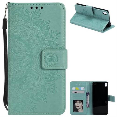 Intricate Embossing Datura Leather Wallet Case for Sony Xperia XA - Mint Green