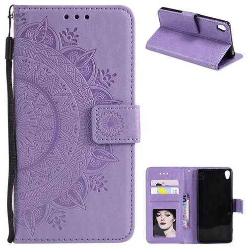 Intricate Embossing Datura Leather Wallet Case for Sony Xperia XA - Purple