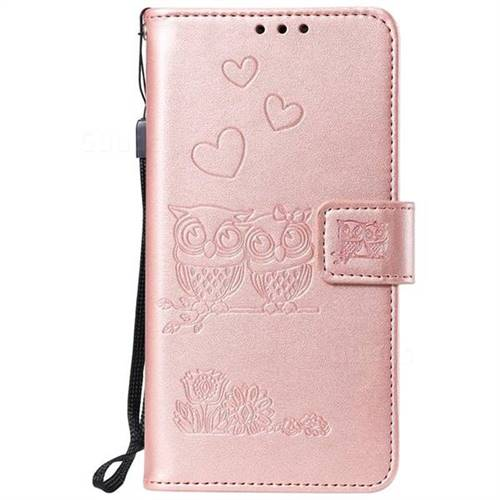 more photos 3fa7b 05ee5 Embossing Owl Couple Flower Leather Wallet Case for Sony Xperia XA - Rose  Gold