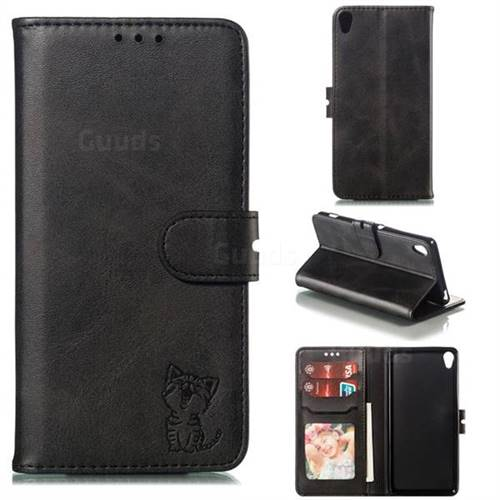 Embossing Happy Cat Leather Wallet Case for Sony Xperia XA - Black