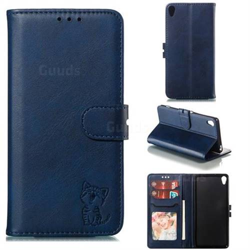Embossing Happy Cat Leather Wallet Case for Sony Xperia XA - Blue