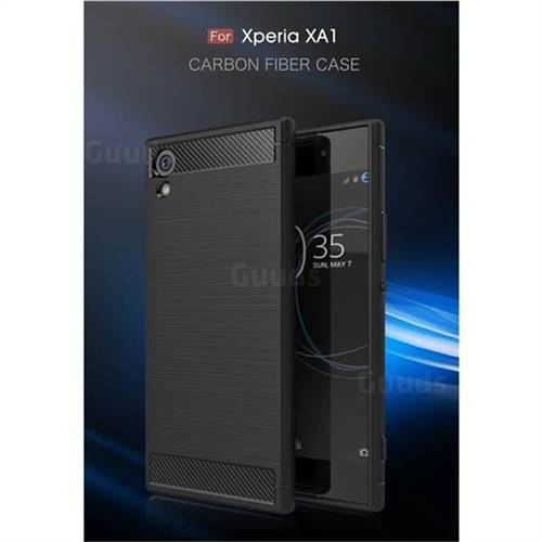 Luxury Carbon Fiber Brushed Wire Drawing Silicone TPU Back Cover for Sony Xperia XA1 (Black)