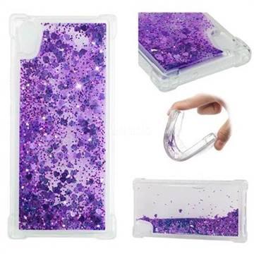 Dynamic Liquid Glitter Sand Quicksand Star TPU Case for Sony Xperia XA1 - Purple