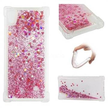 Dynamic Liquid Glitter Sand Quicksand Star TPU Case for Sony Xperia XA1 - Diamond Rose