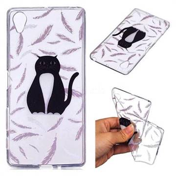 Feather Black Cat Super Clear Soft TPU Back Cover for Sony Xperia XA1
