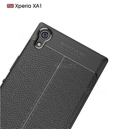 Luxury Auto Focus Litchi Texture Silicone TPU Back Cover for Sony Xperia XA1 - Black - TPU Case - Guuds