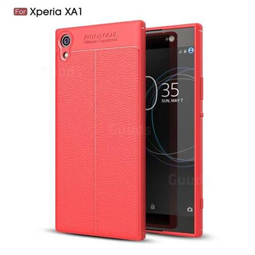 Luxury Auto Focus Litchi Texture Silicone TPU Back Cover for Sony Xperia XA1 - Red