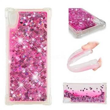 Dynamic Liquid Glitter Sand Quicksand TPU Case for Sony Xperia XA1 - Pink Love Heart