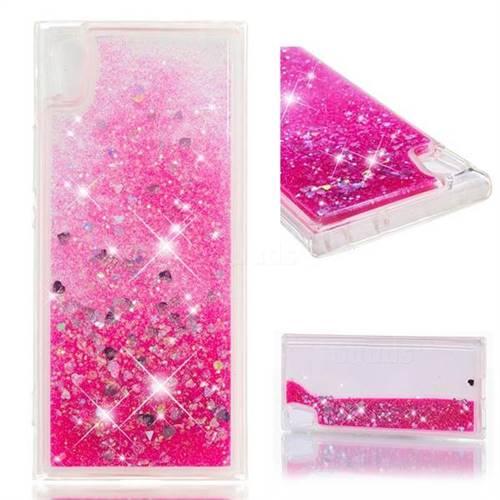 Dynamic Liquid Glitter Quicksand Sequins TPU Phone Case for Sony Xperia XA1 - Rose