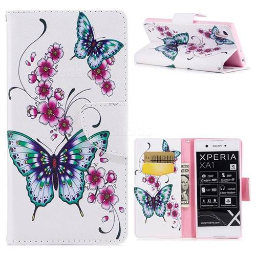 Peach Butterfly Leather Wallet Case for Sony Xperia XA1