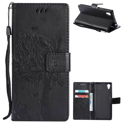 Embossing Butterfly Tree Leather Wallet Case for Sony Xperia XA1 - Black