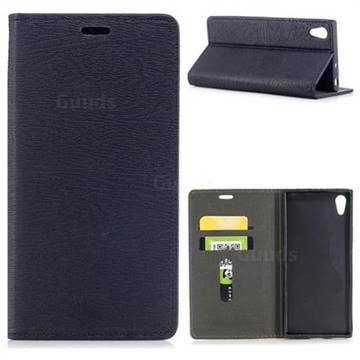 Tree Bark Pattern Automatic suction Leather Wallet Case for Sony Xperia XA1 - Black