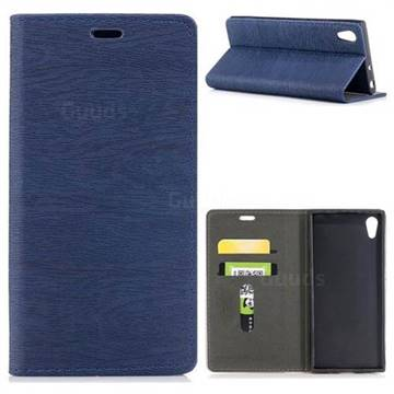 Tree Bark Pattern Automatic suction Leather Wallet Case for Sony Xperia XA1 - Blue