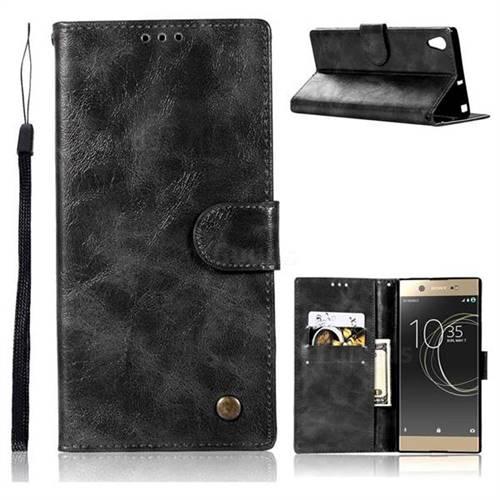 Luxury Retro Leather Wallet Case for Sony Xperia XA1 - Black