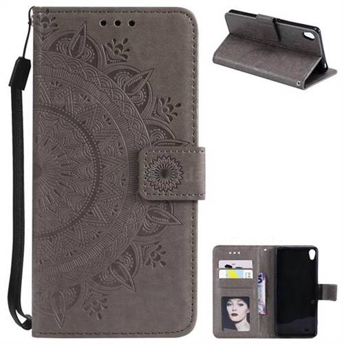 Intricate Embossing Datura Leather Wallet Case for Sony Xperia XA1 - Gray