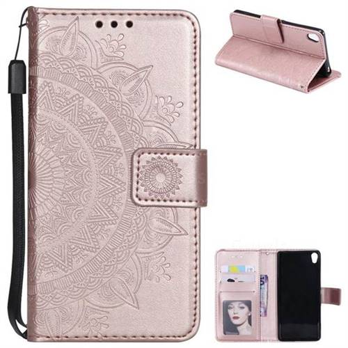 Intricate Embossing Datura Leather Wallet Case for Sony Xperia XA1 - Rose Gold