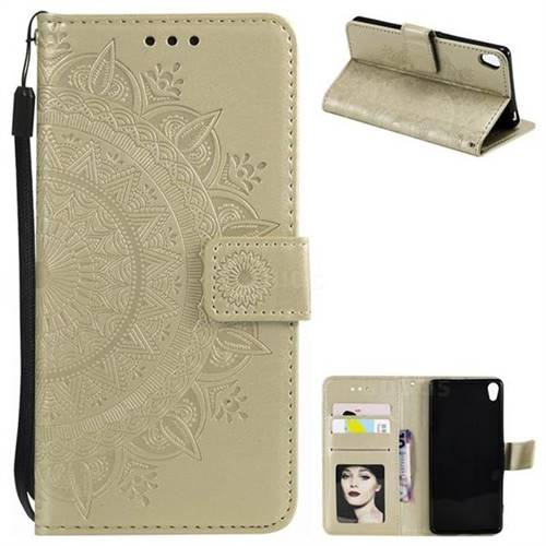 Intricate Embossing Datura Leather Wallet Case for Sony Xperia XA1 - Golden