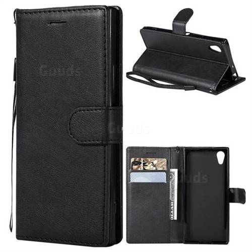 Retro Greek Classic Smooth PU Leather Wallet Phone Case for Sony Xperia XA1 - Black