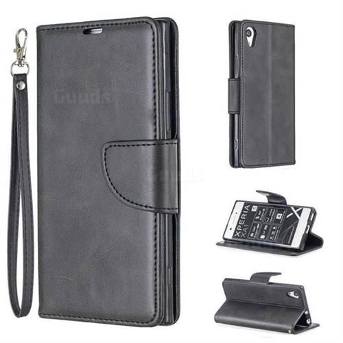 Classic Sheepskin PU Leather Phone Wallet Case for Sony Xperia XA1 - Black
