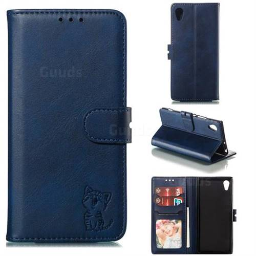 Embossing Happy Cat Leather Wallet Case for Sony Xperia XA1 - Blue