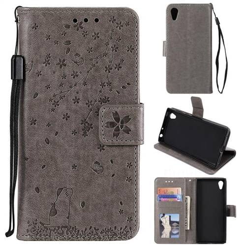 Embossing Cherry Blossom Cat Leather Wallet Case for Sony Xperia XA1 - Gray