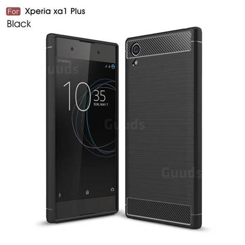 Luxury Carbon Fiber Brushed Wire Drawing Silicone TPU Back Cover for Sony Xperia XA1 Plus (Black)