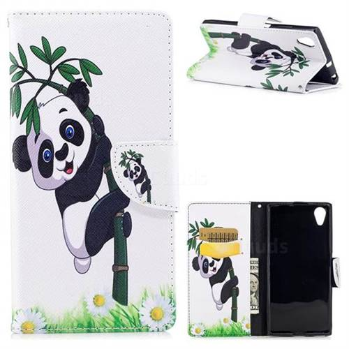 Bamboo Panda Leather Wallet Case for Sony Xperia XA1 Plus