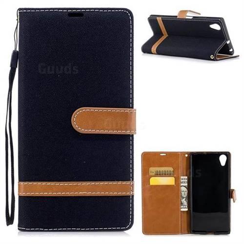 Jeans Cowboy Denim Leather Wallet Case for Sony Xperia XA1 Plus - Black