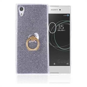 Luxury Soft TPU Glitter Back Ring Cover with 360 Rotate Finger Holder Buckle for Sony Xperia XA1 Ultra - Black